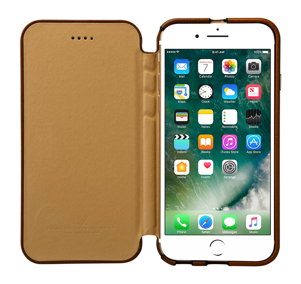 check out 31208 625ec US $23.45 30% OFF Jisoncase Genuine Leather Flip Cover for iphone 7 Plus  Case Luxury Folding Folio Protective Shell for apple 7 5.5