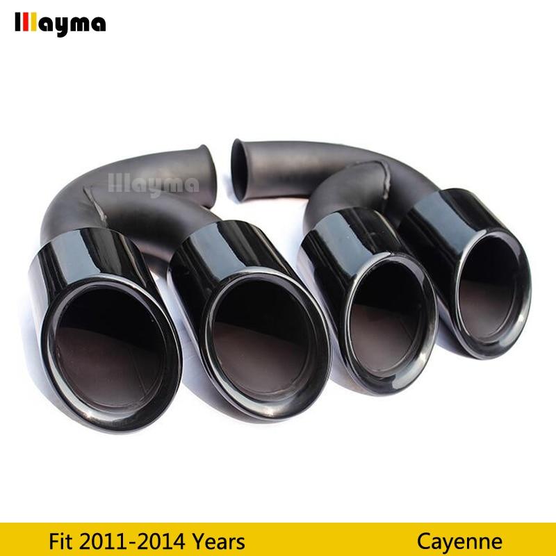 Gloss black Tail Exhaust Tips Muffler Pipe For Porsche Cayenne V6 V8 2011 2012 2013 2014