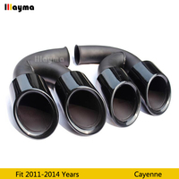 Gloss black Tail Exhaust Tips Muffler Pipe For Porsche Cayenne V6 V8 2011 2012 2013 2014 year Cayenne Stainless steel mufflers