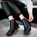 Sapatas Das Mulheres Do Vintage Da Moda de alta qualidade Ankle Boots Mulheres Botas de Zíper Lateral Sapatos