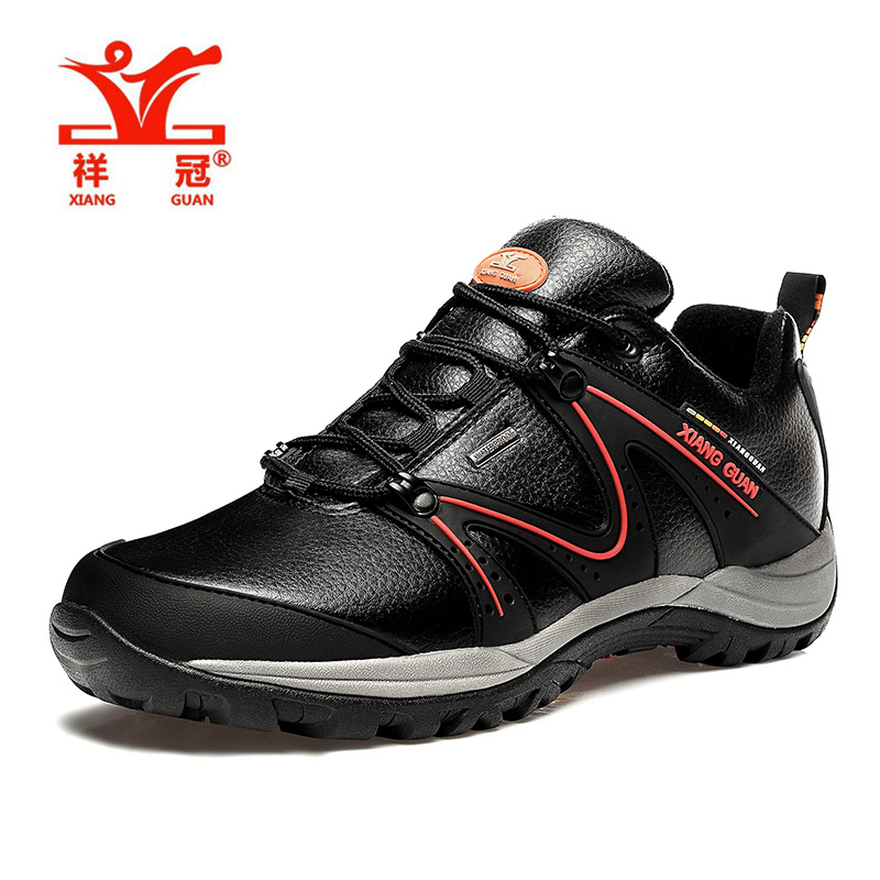 XIANG GUAN Men shoes sales Genuine Leather Waterproof Hiking Shoes Slip Resistant Black Climbing Durable Shoes