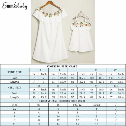 2018 Cute Mother and Daughter Summer Casual Embroidery Floral Strap Off Shoulder Maxi Dress Mommy&Me Family Matching Outfits 5