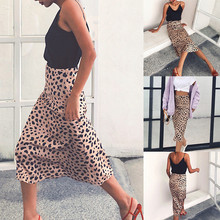 2019 Women Leopard Print Maxi Skirt Women Fashion Leopard Print High Waist  Slim A-Line Medium-Length Female long Skirt недорого