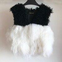 Short Vest Spring Classical Real Mongolia Sheep Fur Patchwork with Natural Lamb Fur Gilet ksr459