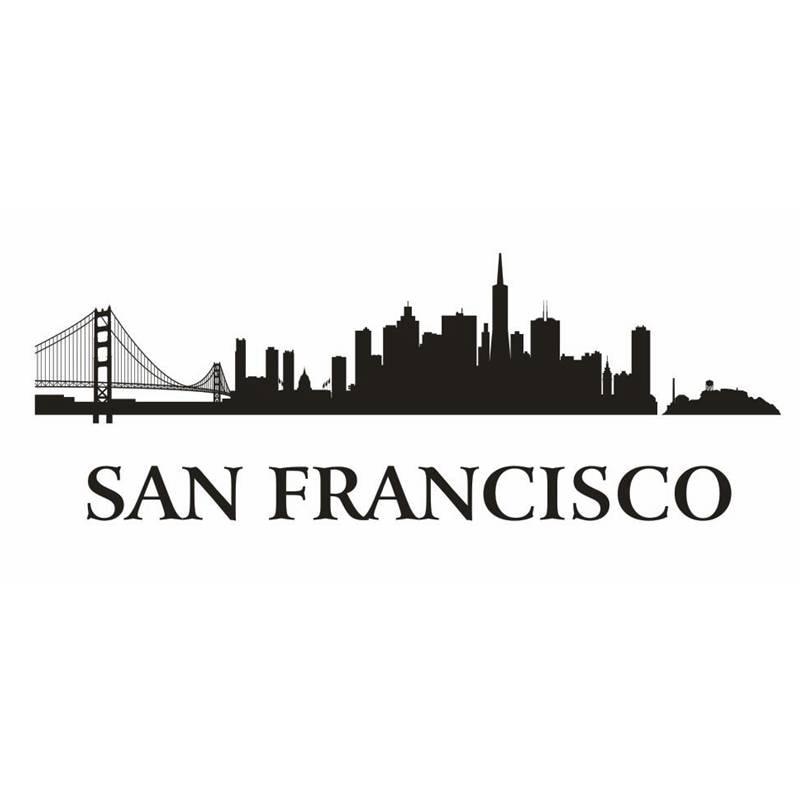 Dctal Сан-Франциско город этикета ориентир Skyline Наклейки на стену эскиз плакат Parede Домашний Декор Стикеры