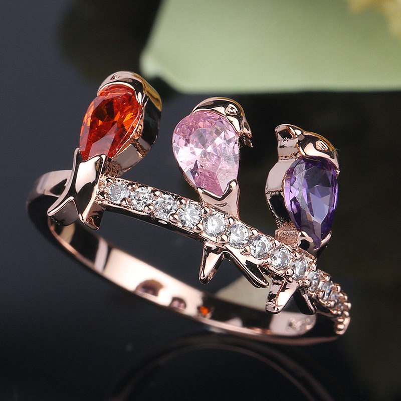 New Arrival Bird animal design Rose Gold Color Ring for Female Wedding with AAA Multicolor Cubic Zircon Wedding Rings Anillos