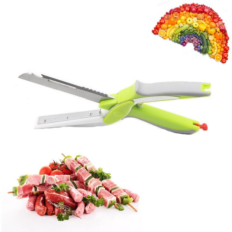 Smart 6 en 1 cutter cutter couteau et conseil en acier inoxydable cutter légumes fruits cutter Ciseaux boîte d'emballage