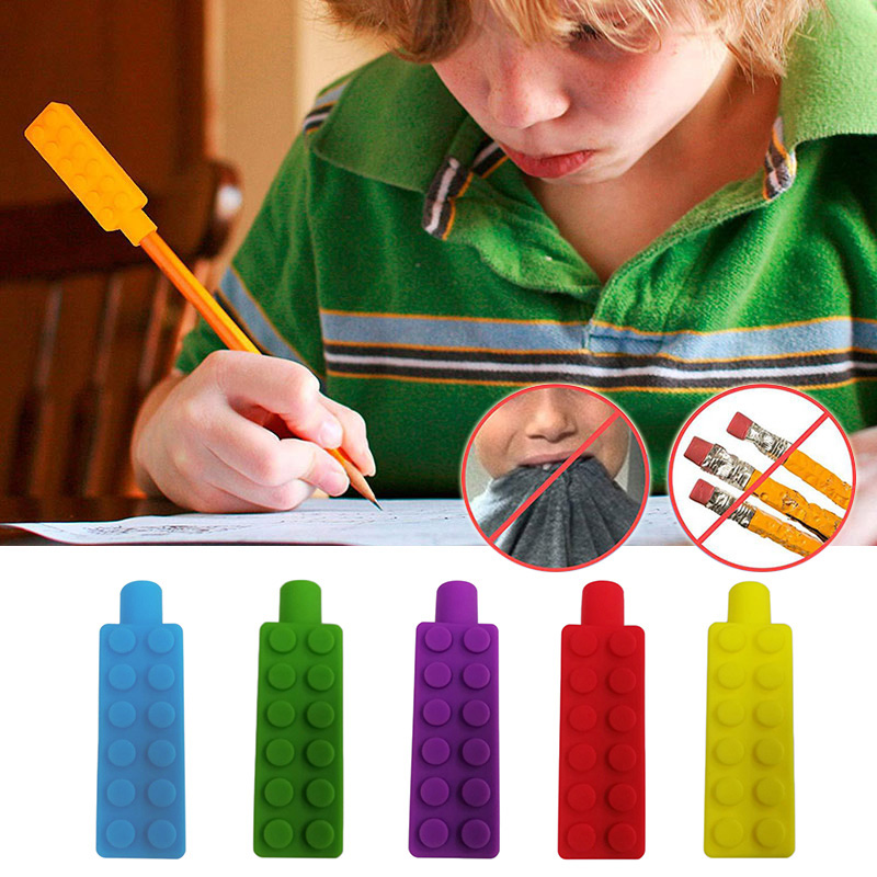 Children Pencil Topper Chew Sensory Necklace Brick  Silicone Biting Teether Toy