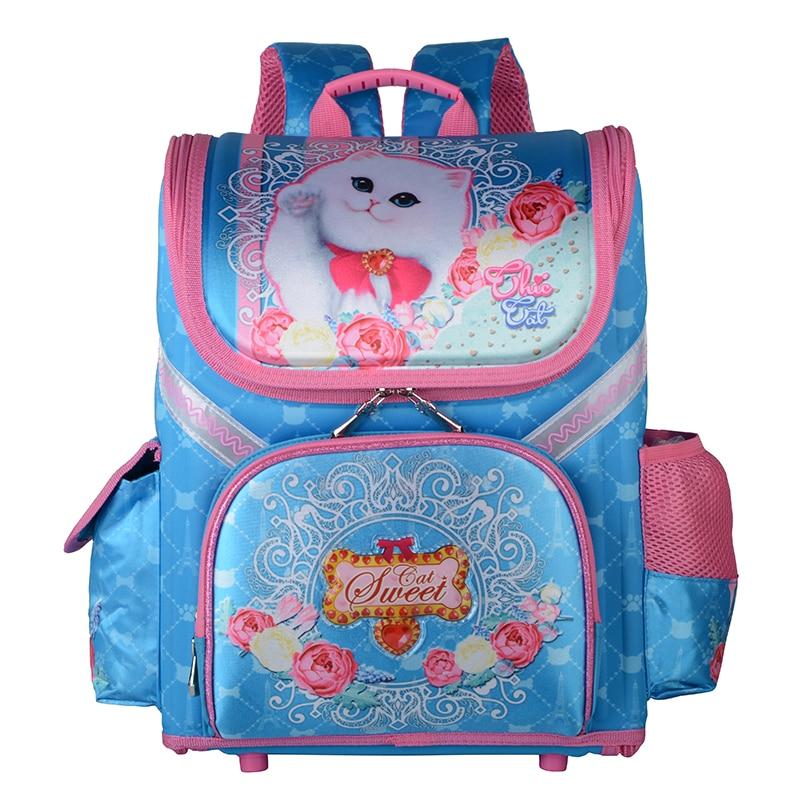 Girls Waterproof Breathable School Backpacks Children Orthopedic Backpack Cat Butterfly Bag for Girls Satchel Knapsack Mochila|School Bags| |  - title=