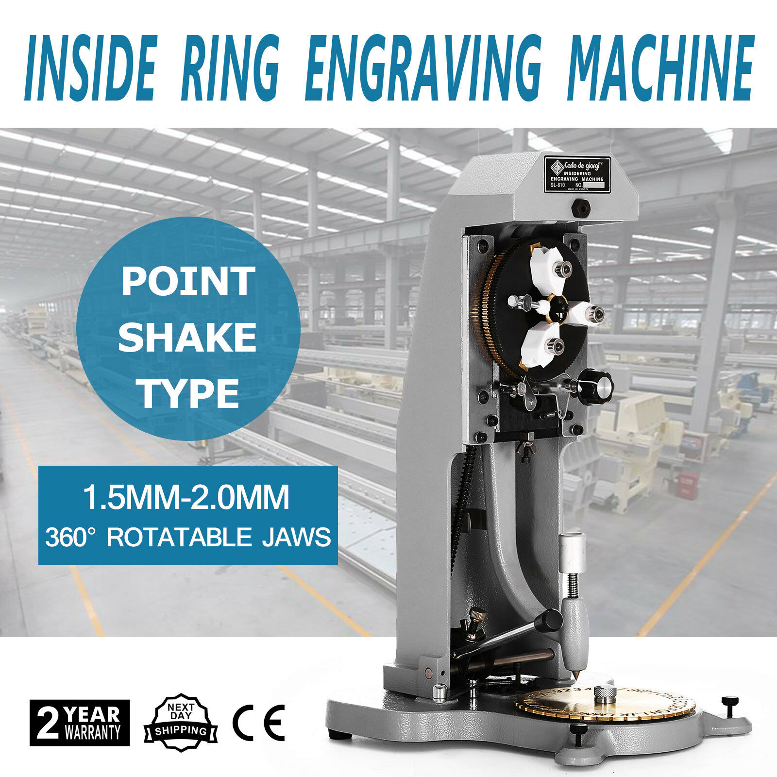 Inside Ring Engraver w// Two Faces Standard Letter Block Dial Engraving Machine