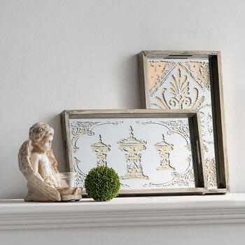 Французский кантри Ретро ремесла красивая ручная роспись цветок зеркальный поднос мягкое украшение