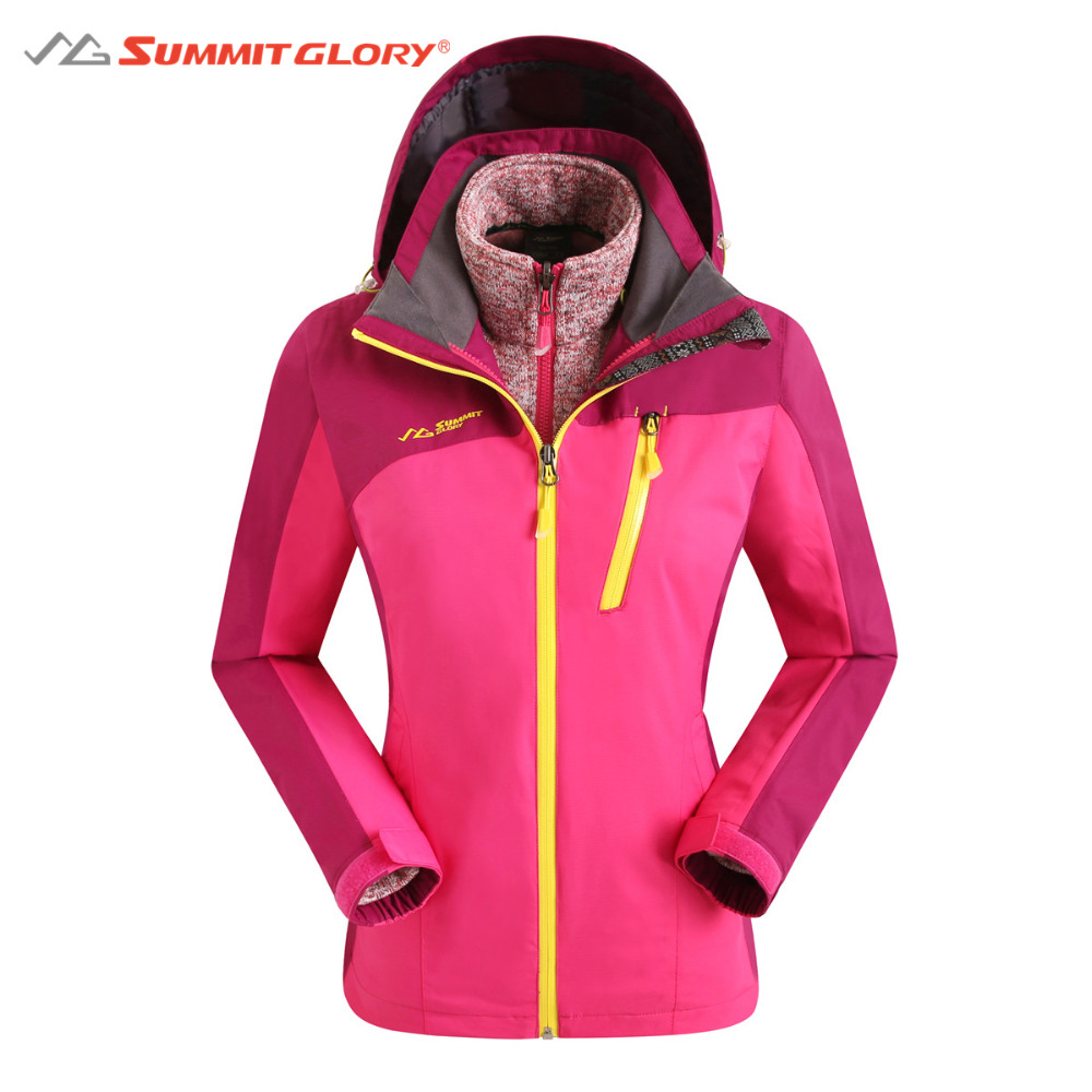 Womens Windbreaker Hiking Jackets 3 in 1 Waterproof Jacket Women Outdoor Camping Clothes SG Summit Glory 2 pieces winter thermal waterproof camping jackets outdoor quick dry breathable hiking jacket men women clothes windbreaker 8029