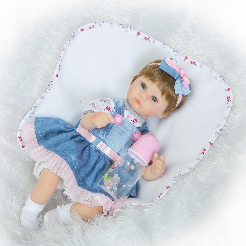Nicery 18inch 45cm Reborn Baby Doll Magnetic Mouth Soft Silicone Lifelike font b Girl b font
