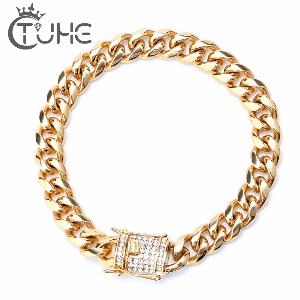 Jewelry & Accessories Responsible Iced Out Choker Necklace White Solid Gold Finish Miami Cuban Link Hip Hop Mens Heavy Chain