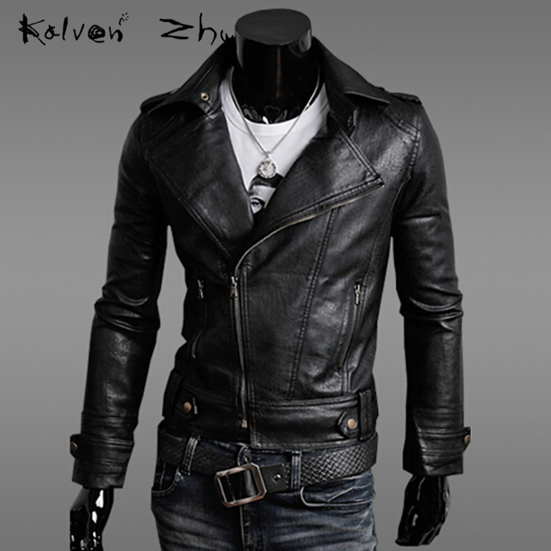 Solid 2015 Autumn New Fashion Black Brown Stitching Men's PU Leather Jacket Casual Slim Fit Baseball Collar M-XXL MJ074 - Karen Mok store