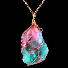 Натуральный кристалл нерегулярные красочные Радуга камень кварц позолоченный чакра рок кулон для женщин модные ювелирные изделия подарок