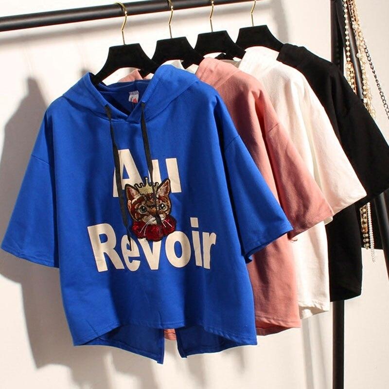Sale Casual 3D Sweatshirt Women Summer Clothing Cartoon Cat Dog Print Cotton Feminino Hoodies O-neck Pullover Tops