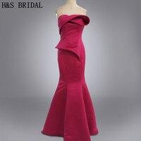 Real Photo Vestidos Party Dress Dark Red Mermid Satin Celebrity Evening Dress