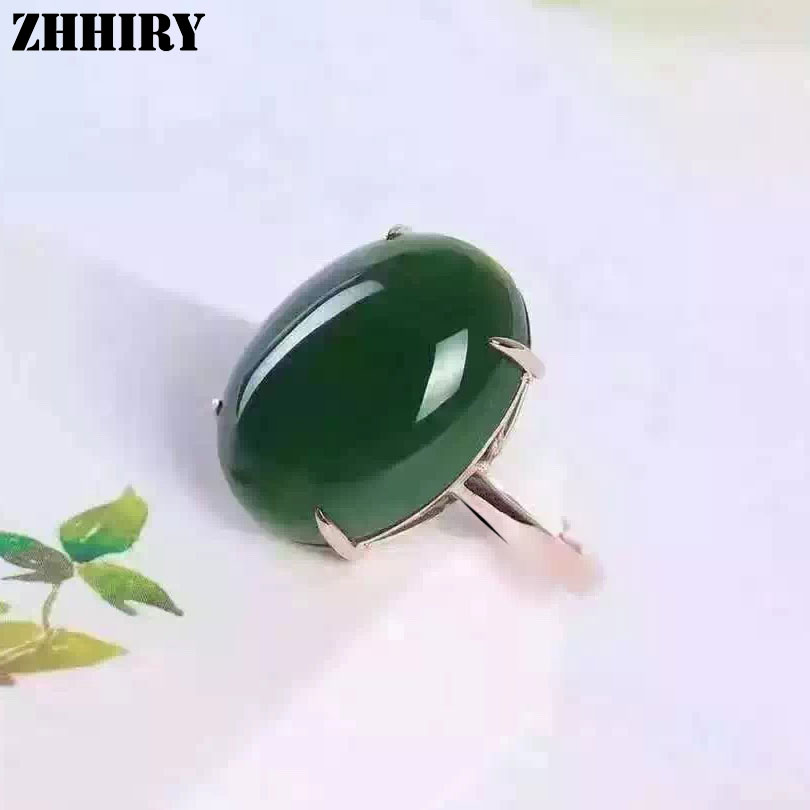ZHHIRY Women Natural Green Jasper Ring Real 925 Sterling Silver Big Gemstone Rings Lady Fine Jewelry natural real amethyst ring 925 sterling silver 6 8mm gemstone for men or women rings fine jewelry