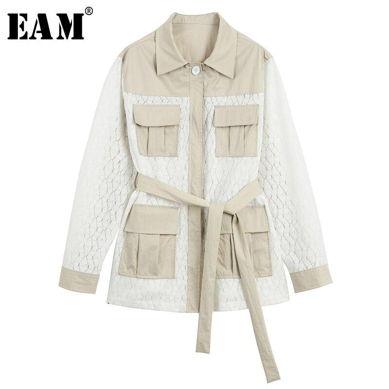 [EAM] 2018 Autumn Fashion New Pattern Korean Lace Stitching Cotton Loose Windbreaker Woman Casual Jacket YC36300