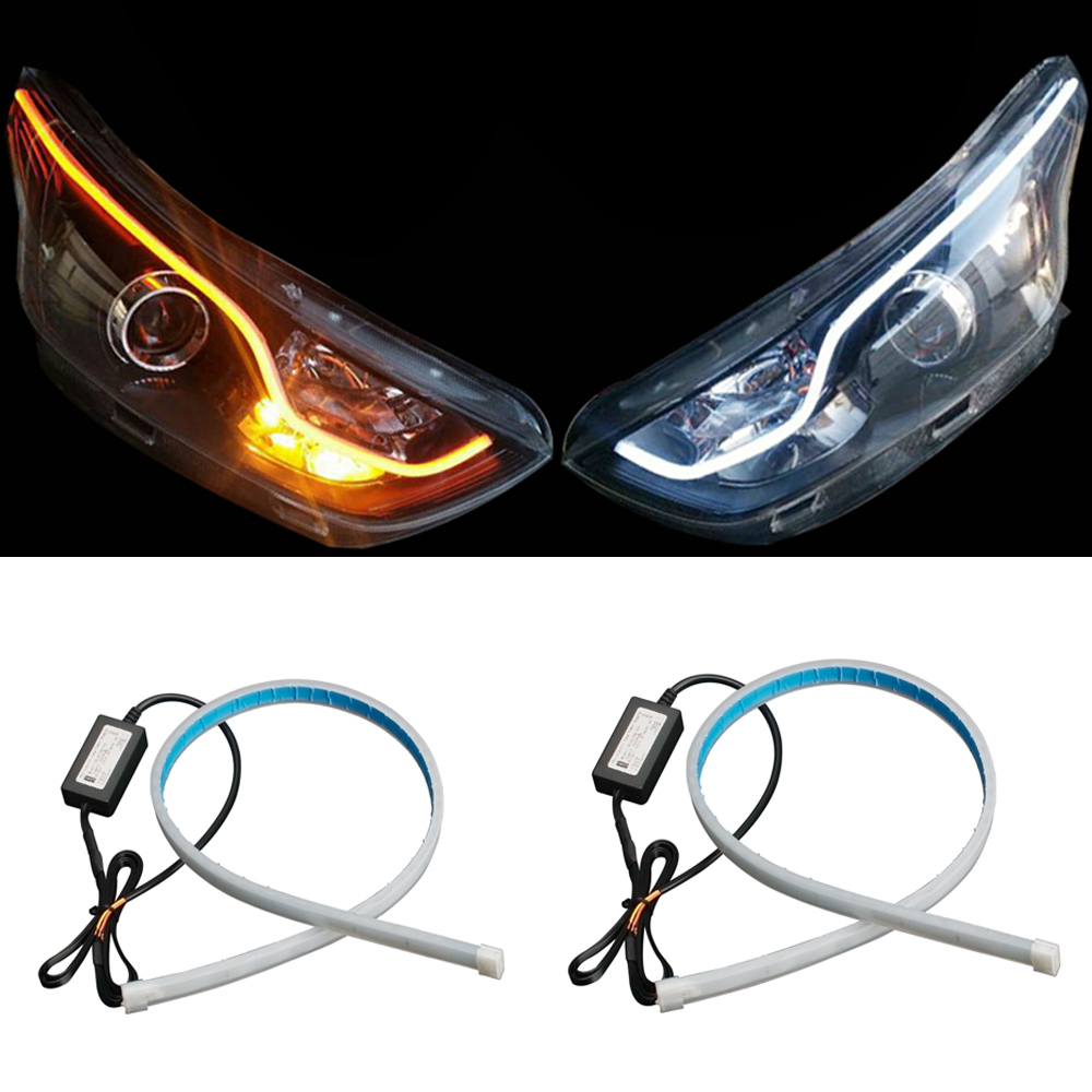 2pcs 60cm <font><b>LED</b></font> DRL Strip Light 12V Car Daytime Running Lights Amber Flowing <font><b>LED</b></font> Strip For <font><b>Ford</b></font> <font><b>Focus</b></font> 2 MK2 <font><b>MK3</b></font> Fusion Mondeo MK4 image