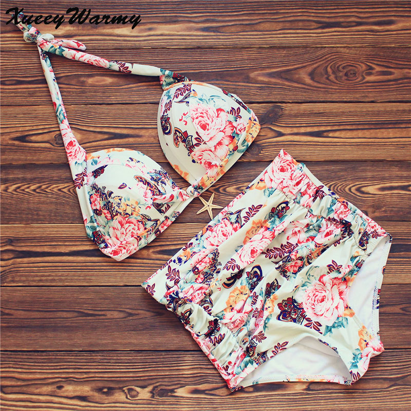 Sexy Floral Print High Waist Swimsuit 2017 Bikini Push Up Swimwear Women Vintage Biquini Bathing Suit Plus Size Swimwear XXXL 2017 women plus size swimwear bathing suit push up bikini set brazilian women high waist swimwear plus size swimsuit xxxl