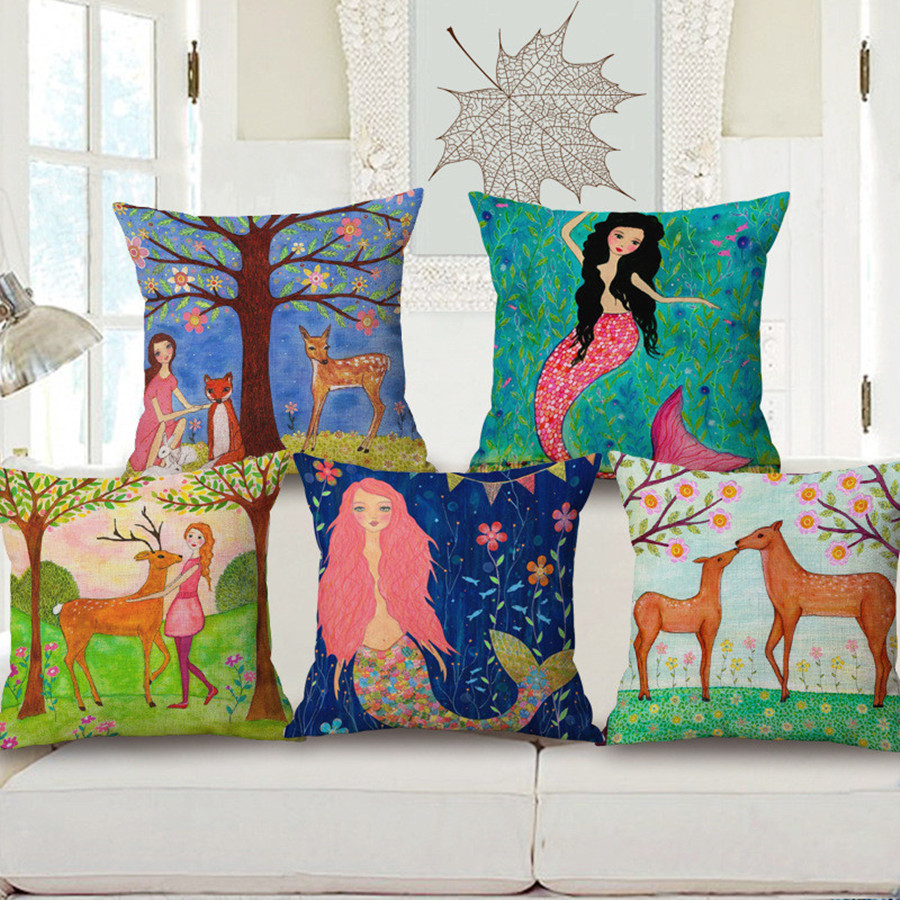 2016 Retro Vintage Mermaid Elk Pillow Cover Home Decorative Cotton Linen Car Pillow Case Scandinavian Style Cushion Covers PC343
