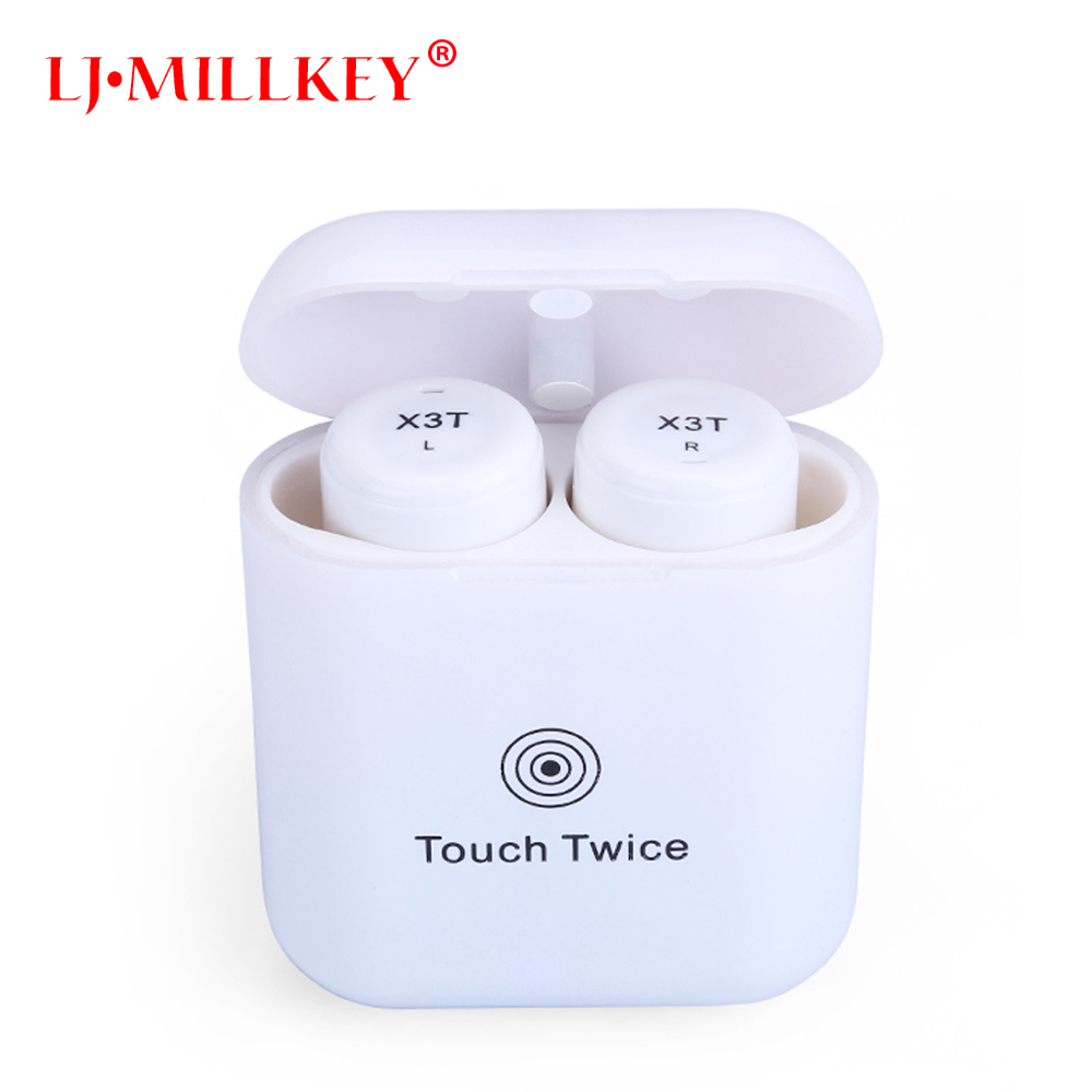 TWS X3T Wireless Bluetooth 4.2 Headset Earphone wtih Charger Box Bass Upgraded for Android touch earphone LJ-MILLKEY YZ138 remax 2 in1 mini bluetooth 4 0 headphones usb car charger dock wireless car headset bluetooth earphone for iphone 7 6s android
