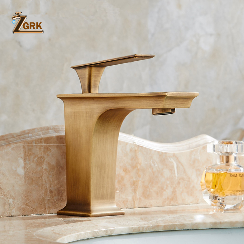 Antique Brass Taps Single Handle Deck Mount Hot And Cold Water Bathroom basin faucet Vintage Quadrate Mixer Tap micoe hot and cold water basin faucet mixer single handle single hole modern style chrome tap square multi function m hc203