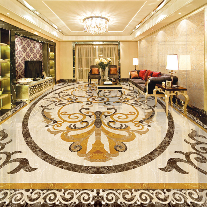 Custom Mural Wallpaper European Style Marble Mosaic Floor