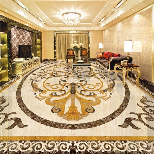 Wallpaper murale personalizzato stile europeo marmo mosaico pavimento di piastrelle adesivo - Piastrelle di lusso ...
