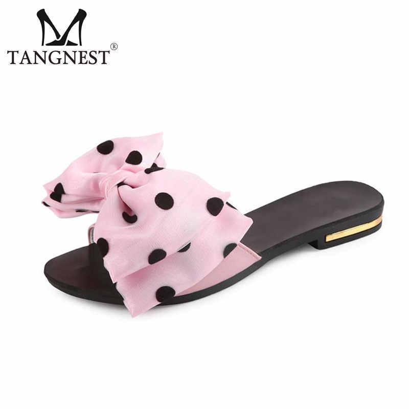 Tangnest Sweet Bowtie Flip Flops Fashion Polka Dot Slippers Flat Shoes Women  Summer Beach Slides Shoes 187d6620ebcf