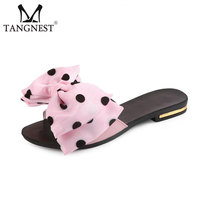 Tangnest Sweet Bowtie Flip Flops Fashion Polka Dot Slippers Flat Shoes Women Summer Beach Slides Shoes