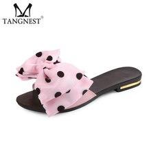 TANGNEST/сладкий бабочкой Вьетнамки модные горошек тапочки дамские туфли на плоской подошве летние пляжные Босоножки на каблуках большие размеры 35–41 XWT749