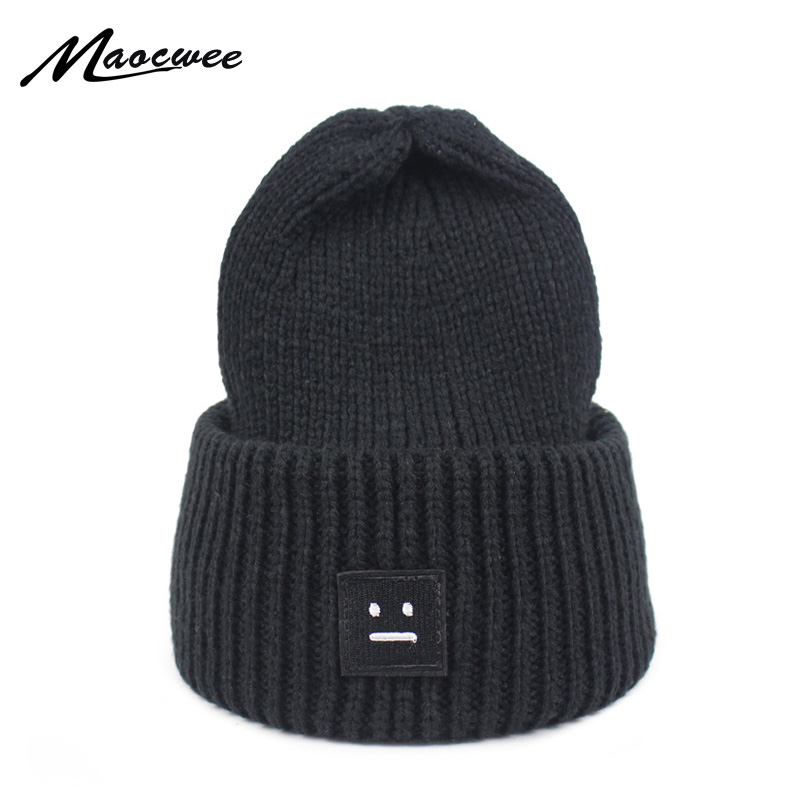 b94ffb02e02 2018 Winter Women Knitting Hat Beanie Casual Thick Solid color Warm Cap  Smiling Face Pattern Knitted