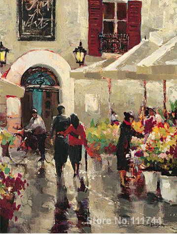 Paysage peintures Rue de Fleurs par Brent rehauston toile art de haute qualité peint à la main