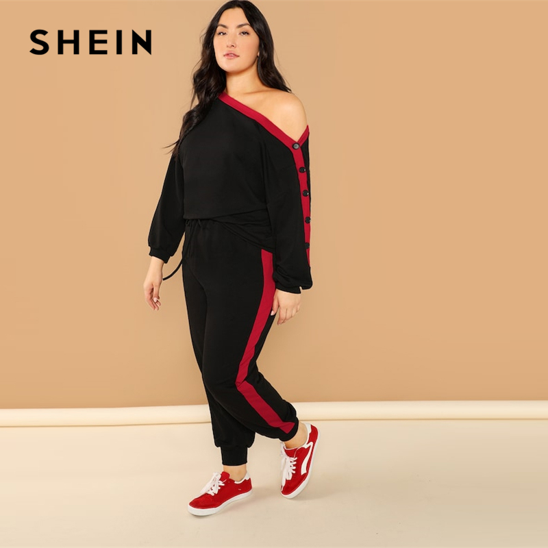 SHEIN Plus Black Asymmetric Shoulder Buttoned Sleeve Sweatshirt Pants Set Long Sleeve Co-Ord Women Spring Elegant Twopiece