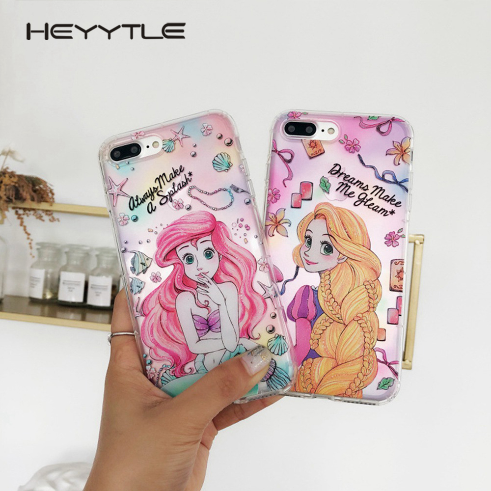 Heyytle Alice Princess Mermaid Phone Cover For Apple iPhone X 8 7 6S 6 Plus Case Cute Fashion Soft TPU Back Cover Clear Cases