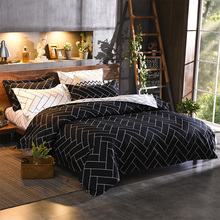 Nordic Plaid Bedding Set Soft Comforter Bedclothes Bed Duvet Cover Pillowcase Lattice Black and White Adults Linens