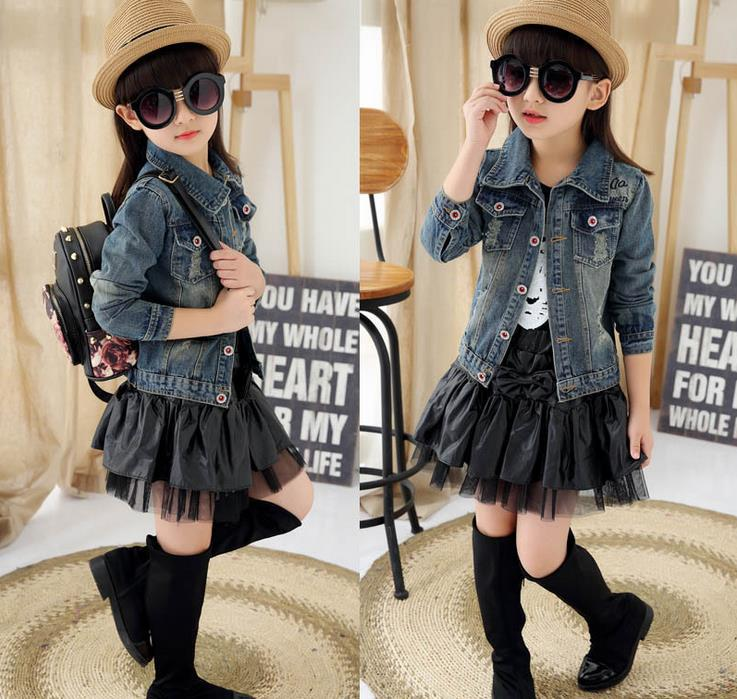 Fashion Girls Children's Wear Coat-skirts Korean Cultivate One's Morality Design Cowboy Clothing Two Pieces Kids Clothing Sets 2016 women s clothing fashion in europe and the atmosphere bohemia elasticity knitted cultivate one s morality dress