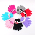 Fashion Children's Gloves Mittens Kids Cute Bow Flower Knit Wool Glove Soft Warm Full Finger Mitten Boys Girl Winter Accessories
