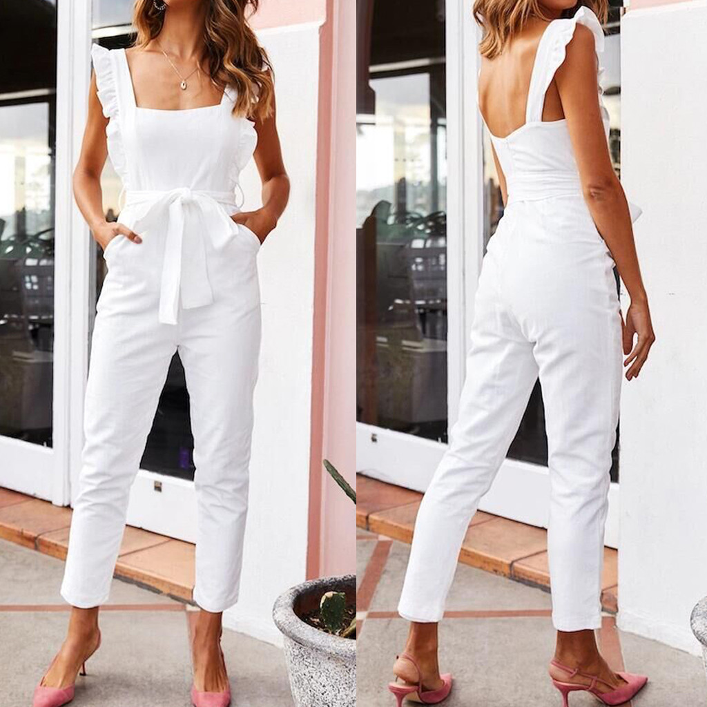 Elegant off shoulder women long   jumpsuit   Sexy backless casual Office ladies   jumpsuit   2019 romper Solid summer casual overalls