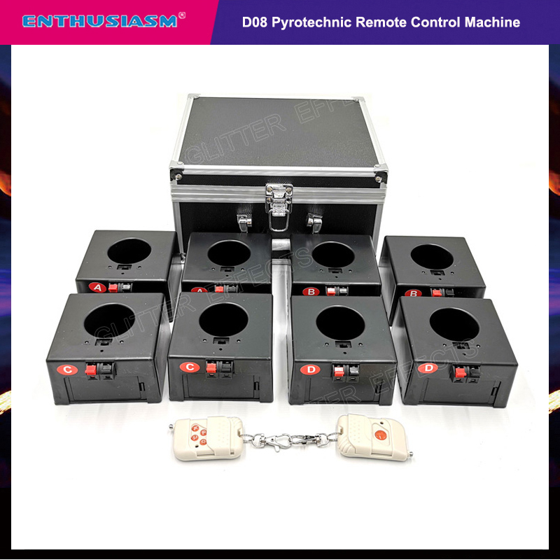 Cold Firework Ignition Machine Wireless Remote Pyrotechnics 8 Cues Receiver Stage Equipment Fountain System 1case 8 Base Firing-in Stage Lighting Effect from Lights & Lighting on