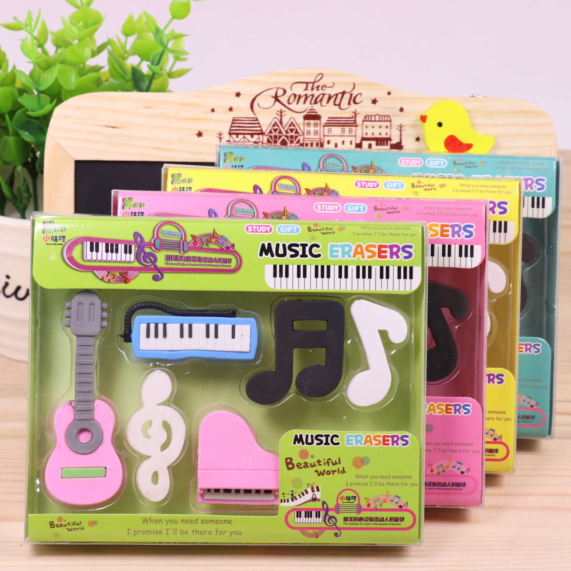 12box/lot Music Theme Eraser Set / Creative Stationery/ Box Packing/children Gift/students Prize/school Supplies
