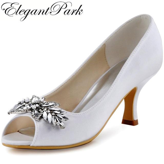 Ivory White Women Wedding Shoes Peep Toe Mid Heel Rhinestone Satin Lady  Bridesmaid Bride Bridal Evening