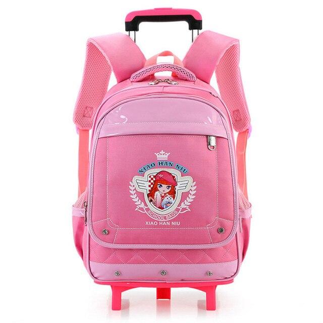1c5687f38101a Crianças ortopédica Mochila linda escola carrinho Mochila de grande  capacidade com rodas para meninos meninas Mochila
