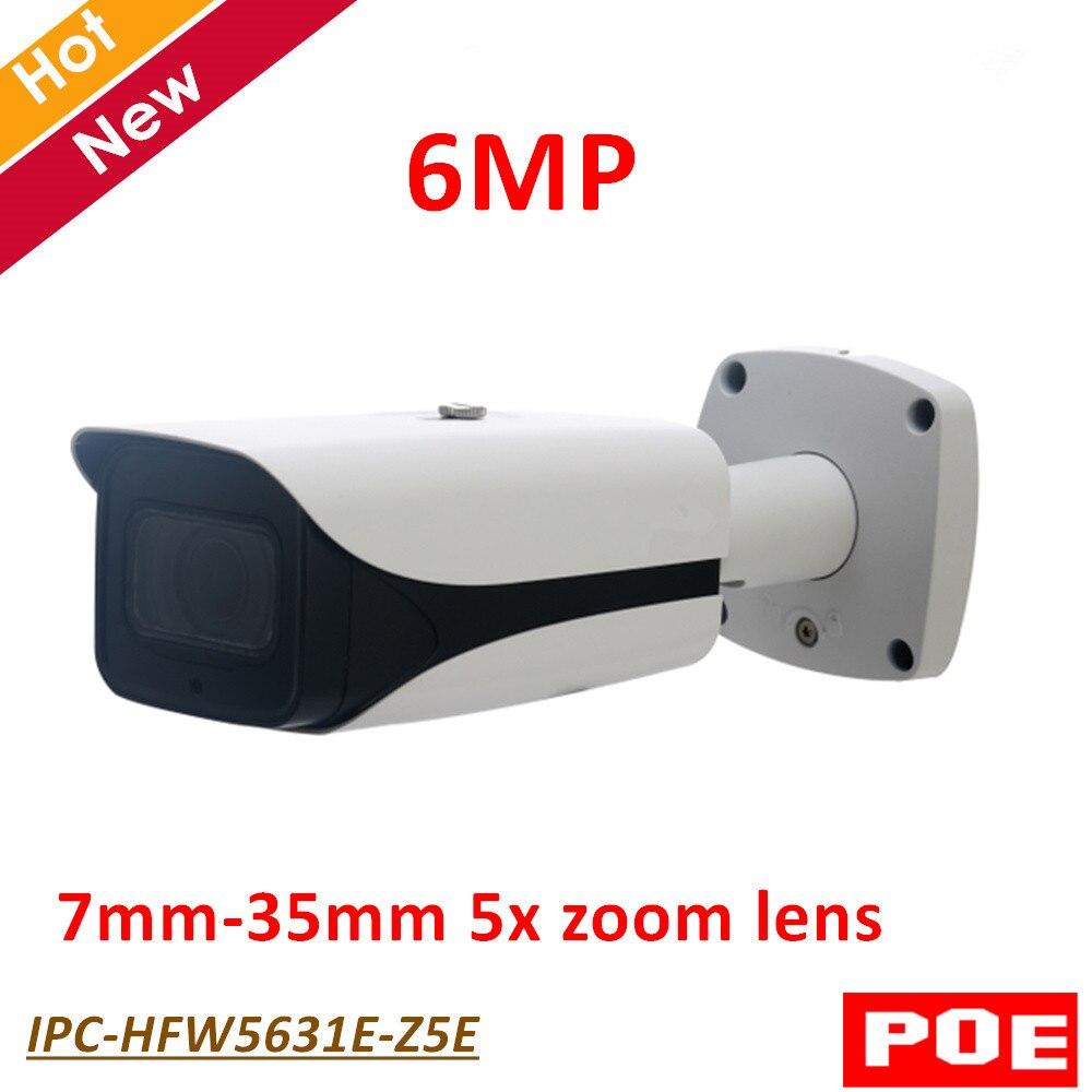 Inglese versione DH 6MP IP Della Macchina Fotografica IPC-HFW5631E-Z5E 6MP Poe IR Della Pallottola Network Survillance Macchina Fotografica 7mm-35mm 5x obiettivo zoom IP67