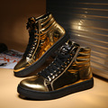New Designers Men Boots Patent leather Reflective Gold Silver Black Punk Shoes Hip Hop Mens Ankle Boots Dancing zapatos L102401