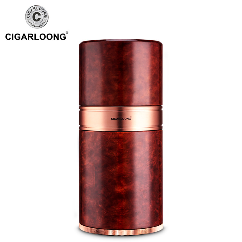 Cigar moisturizing tube holds 7 cigars with thermometer device GH-030