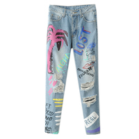 Summer And Autumn Women Graffiti Broken Jeans Female Loose Beggars Distressed Jeans Pants Flower Printing Students